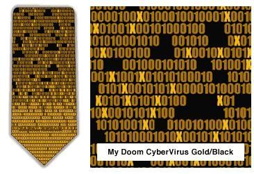 """""""My Doom"""" CyberVirus Neck Tie (Gold & Black)"""