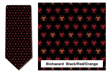 Biohazards Neck Tie (Black/Red/Orange)