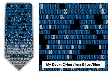 """My Doom"" Cybervirus Neck Tie (Silver & Blue)"