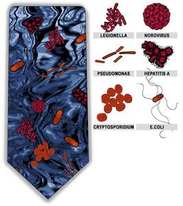 Waterborne Six Neck Tie (Aqua Blue & Red)